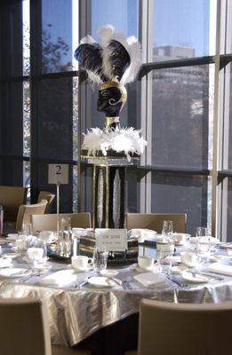 Art Deco Centrepiece featuring Mannequin Head and Feathers