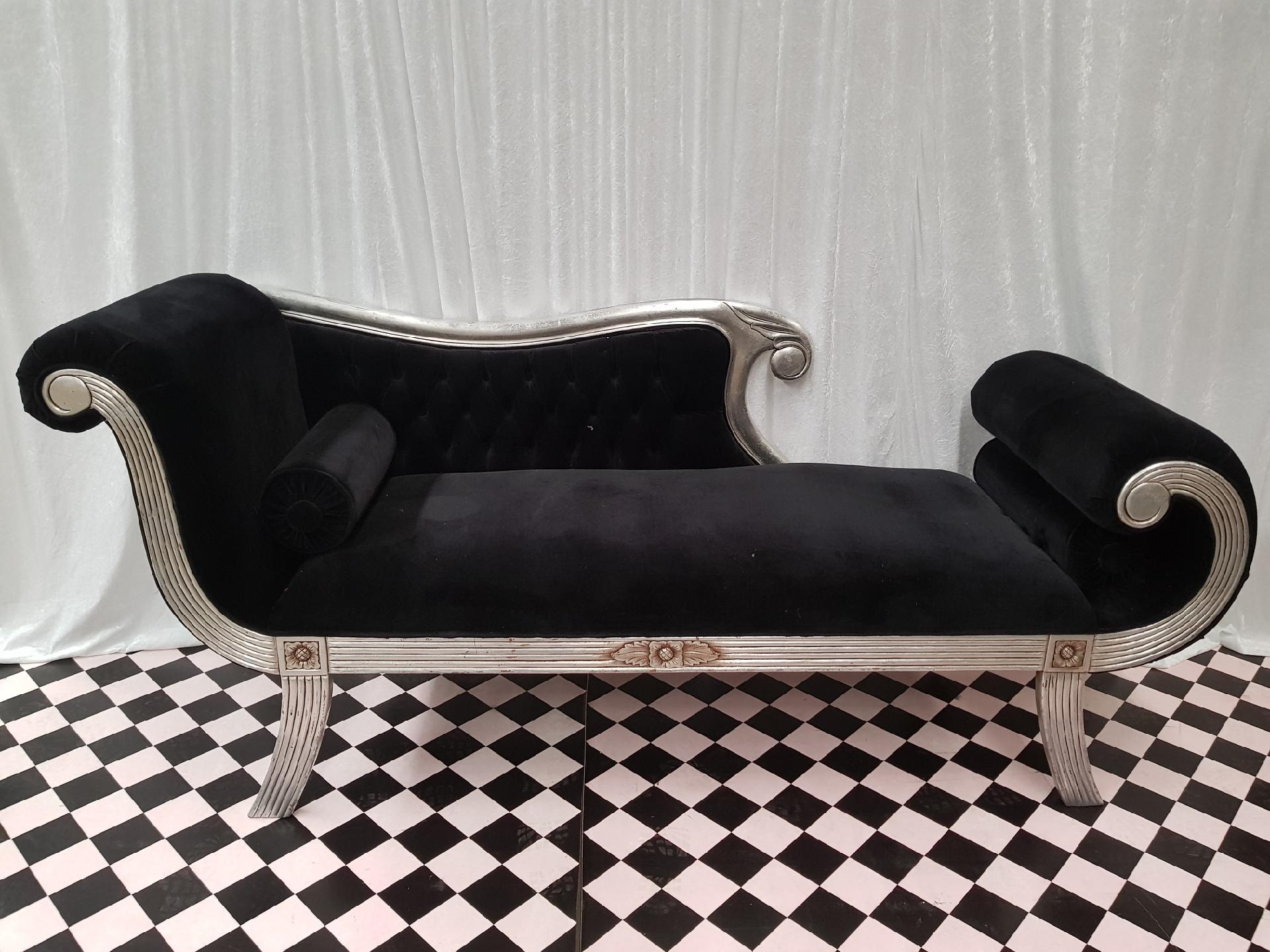 Black Velvet Chaise